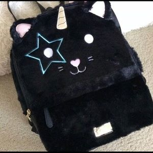 NWT BETSEY JOHNSON FAUX FUR BACKPACK